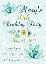 Load image into Gallery viewer, Teal Floral Milestone Birthday Party Invitation-Sunny Jar Designs