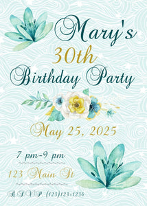 Teal Floral Milestone Birthday Party Invitation-Sunny Jar Designs