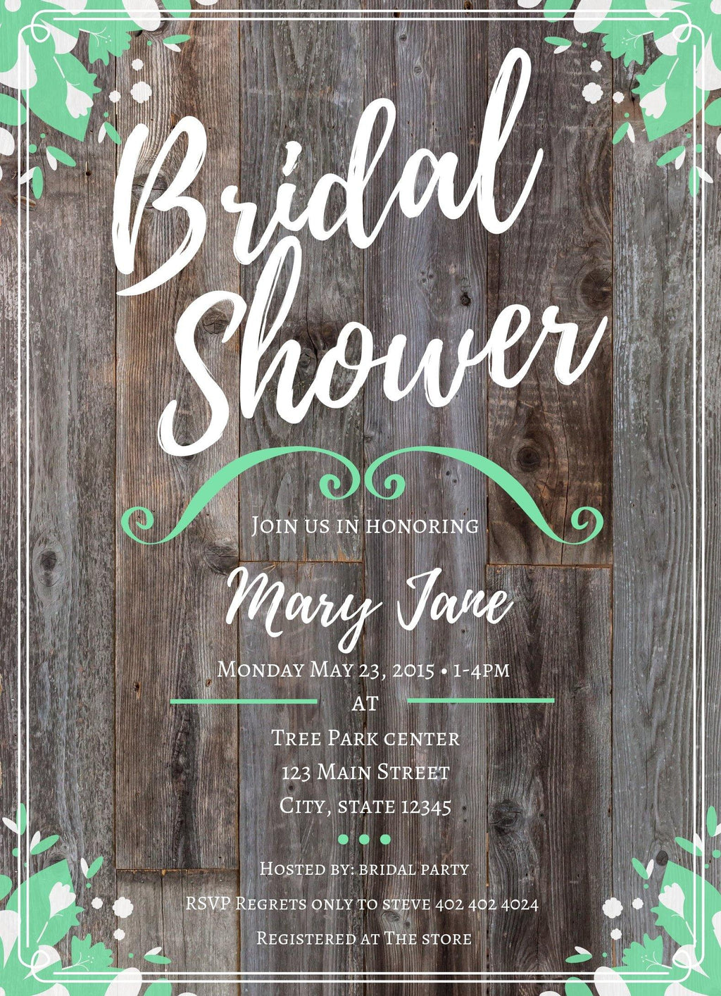 Mint-Green Bridal Shower Invitation Editable Download - sunny-jar-designs