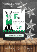 Load image into Gallery viewer, Milestone Green Bunny Party Invitation-Sunny Jar Designs