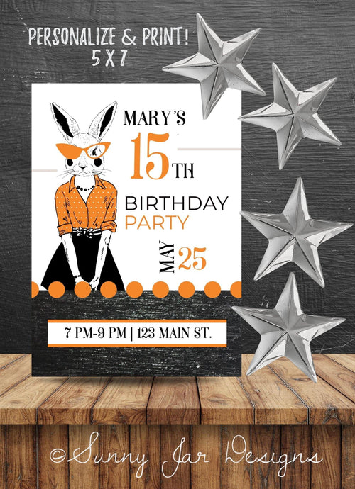 Milestone Orange Bunny Party Invitation-Sunny Jar Designs