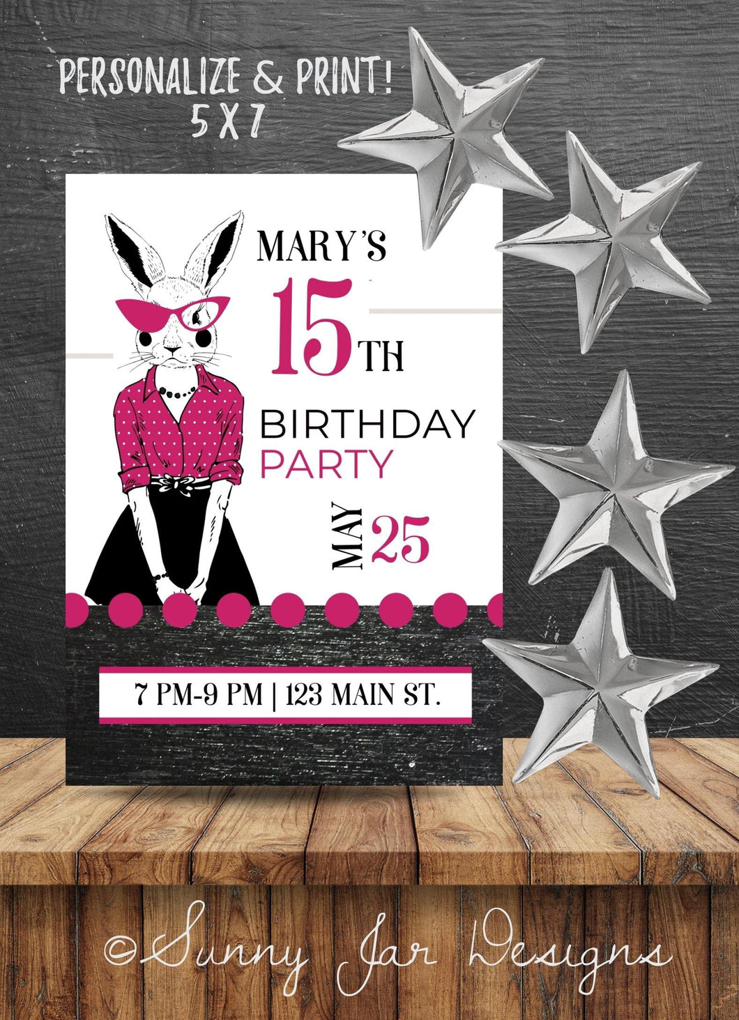 Milestone Pink Bunny Birthday Party Invitation-Sunny Jar Designs