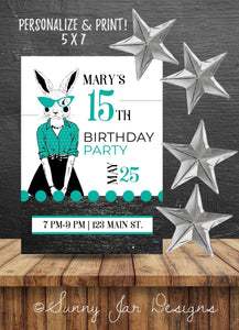 Milestone Teal Bunny Party Invitation-Sunny Jar Designs