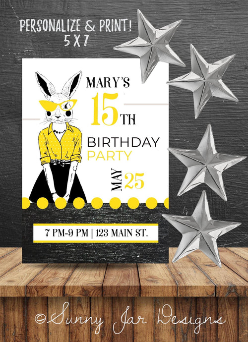 Milestone Yellow Bunny Party Invitation-Sunny Jar Designs