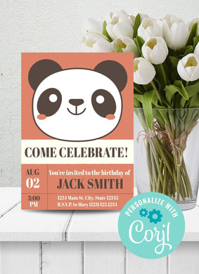 Panda Birthday Party Invitation-Sunny Jar Designs
