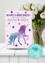Load image into Gallery viewer, Unicorn Themed Party Invitation-Sunny Jar Designs