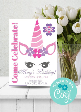 Unicorn Face Party Invitation-Sunny Jar Designs