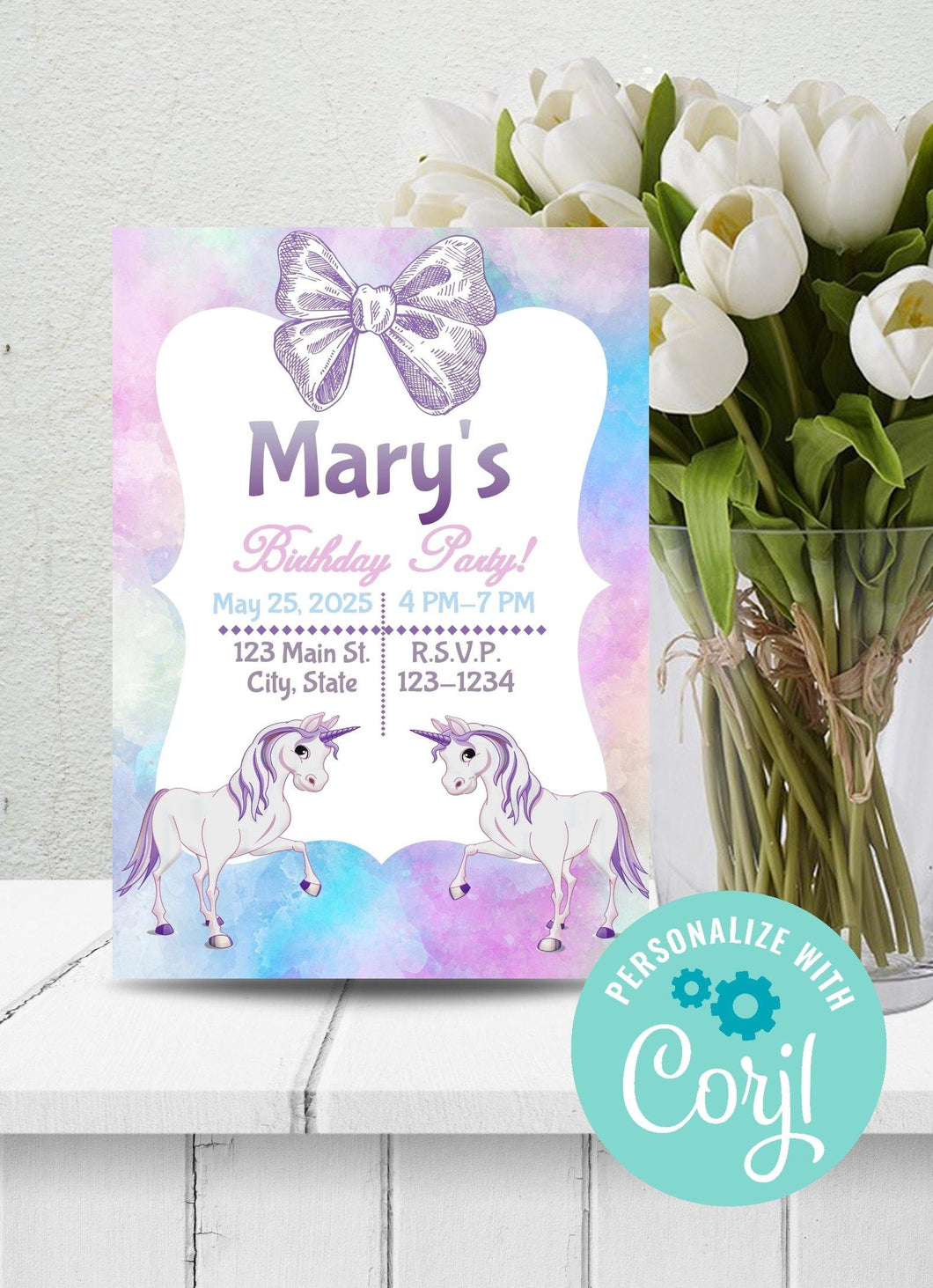 Unicorn Theme W A Bow Party Invitation-Sunny Jar Designs