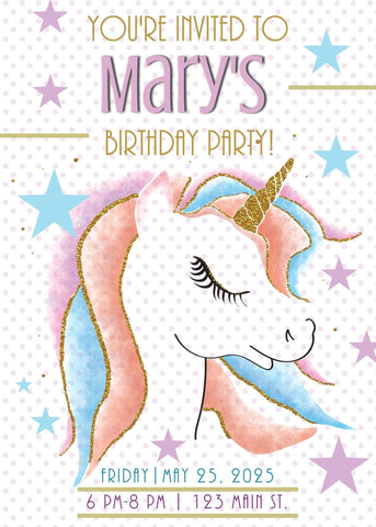 Unicorn w Rainbow Hair Birthday Party Invitation