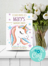 Load image into Gallery viewer, Unicorn w Rainbow Hair Party Invitation-Sunny Jar Designs
