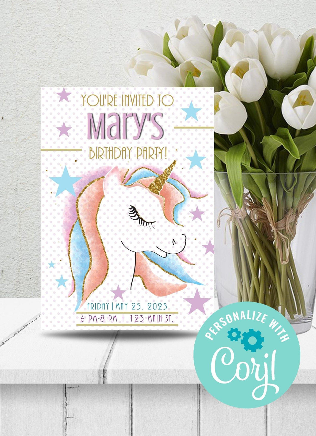 Rainbow Unicorn Party Invitation-Sunny Jar Designs