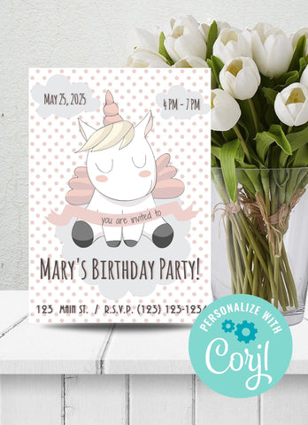 Unicorn w Polka Dots Birthday Party Invitation