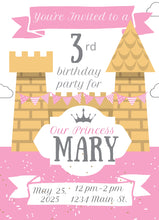 Load image into Gallery viewer, Pink Castle Birthday Party Invitation -Shop for Pink Castle Birthday Party Invitation
