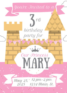 Pink Castle Birthday Party Invitation -Shop for Pink Castle Birthday Party Invitation