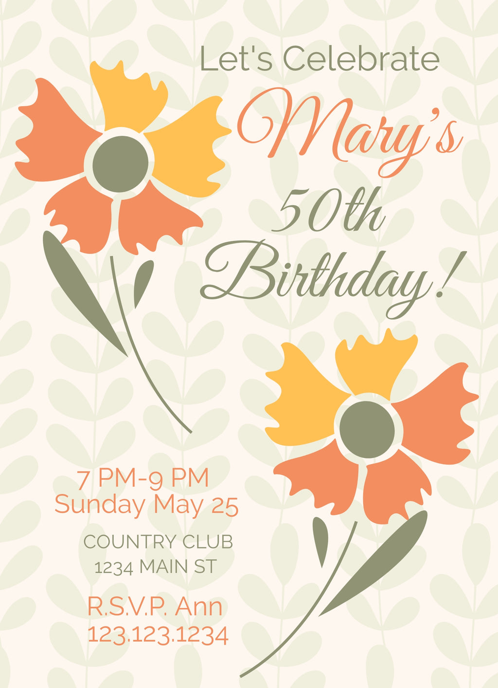 50th Flower Birthday Invitation Editable Download - sunny-jar-designs