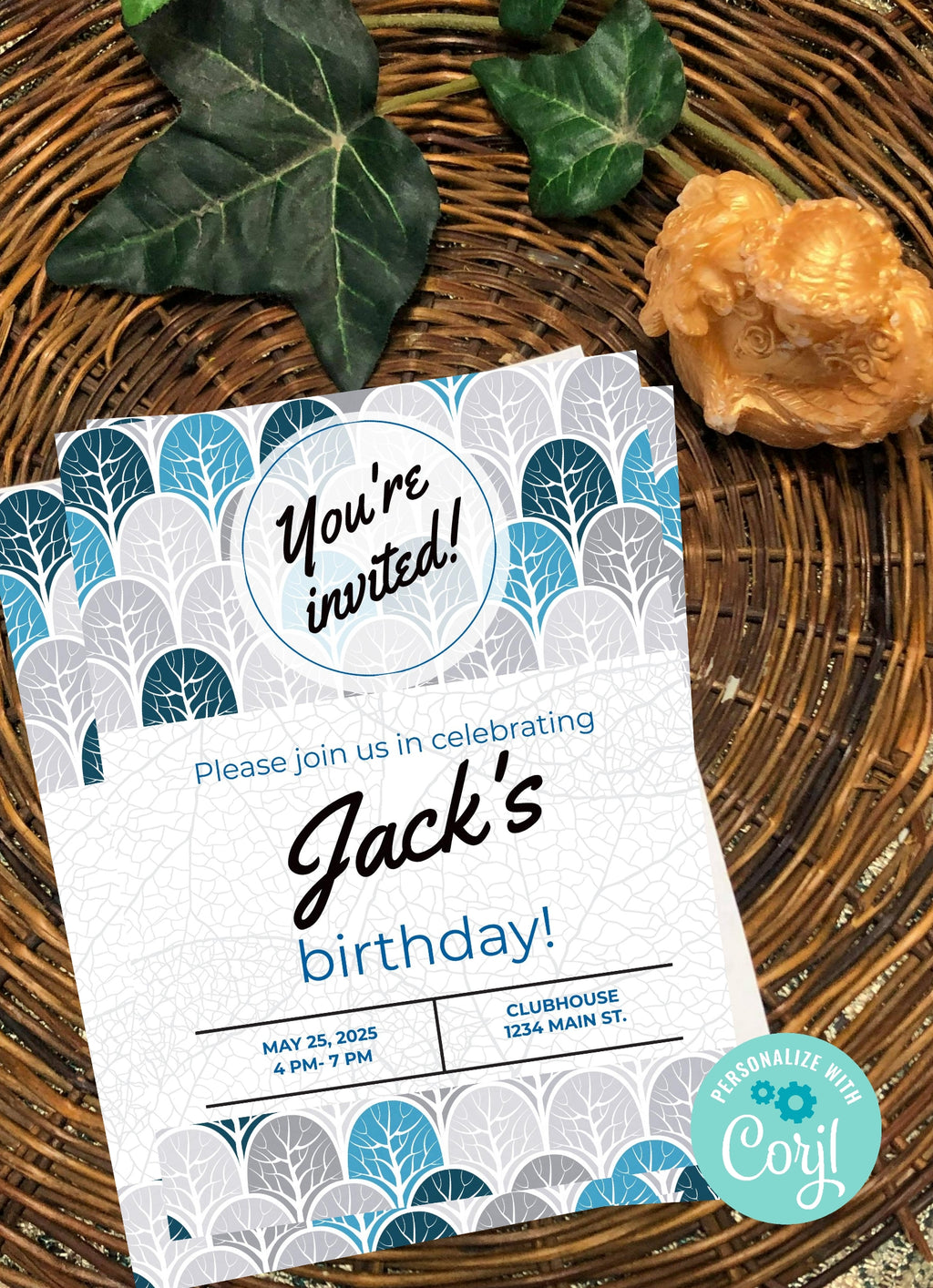 Trees  Birthday Invitation-Editable Download - sunny-jar-designs
