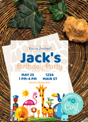 Zoo Animals Blue Party Invitation-Sunny Jar Designs