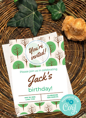 Green Tree Party Invitation-Sunny Jar Designs