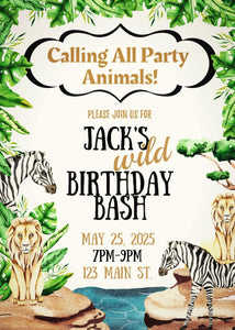 Wild Safari Party Invitation-Sunny Jar Designs