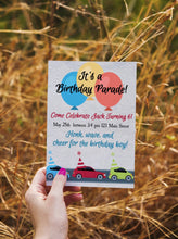 Load image into Gallery viewer, Car Parade Birthday Invitation - Sunny Jar Designs