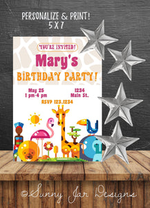Zoo Animal Pink Birthday Party Invitation-Sunny Jar Designs