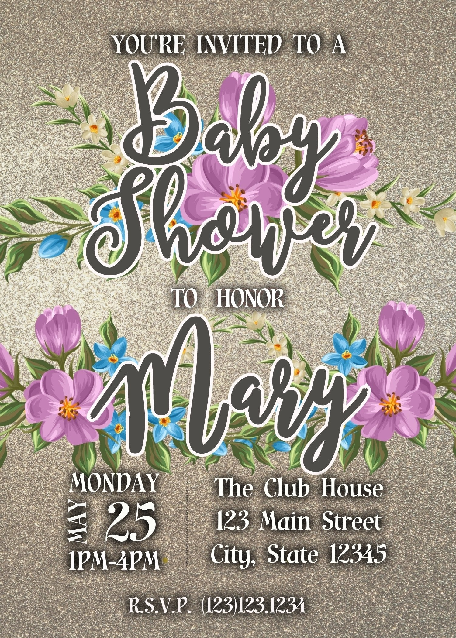 Blue & Pink Flowers Baby Shower Invitation Editable Download - sunny-jar-designs