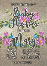 Load image into Gallery viewer, Blue & Pink Flowers Baby Shower Party Invitation - Custom Design Party Invites and Personalized Announcements