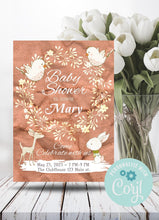 Load image into Gallery viewer, Bunny and Birds Baby Shower Invite - Sunny Jar Personalized Designs