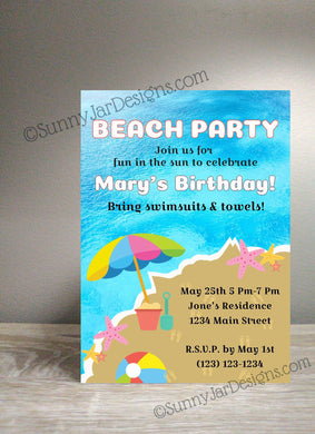 Beach Party Birthday Invitation - Sunny Jar Designs