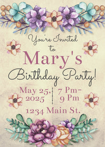 Bold Floral Birthday Party Invitation-Sunny Jar Designs