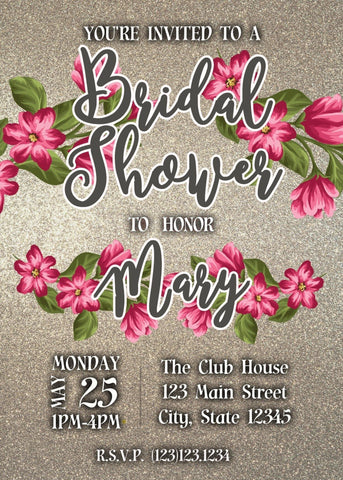 Red and Pink Floral Bridal Shower Party Invitation