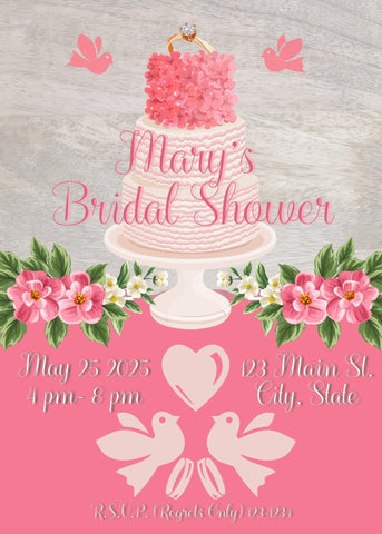 Gray Bridal Shower Cake Party Invitation