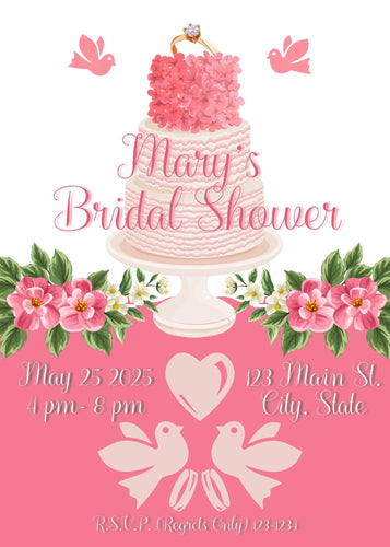 Bridal Shower Cake Party Party Invitation - Custom Design Party Invites and Personalized Announcements
