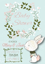 Load image into Gallery viewer, Floral Wreath Bunny Baby Shower Invite - Custom Design Party Invites and Personalized Announcements
