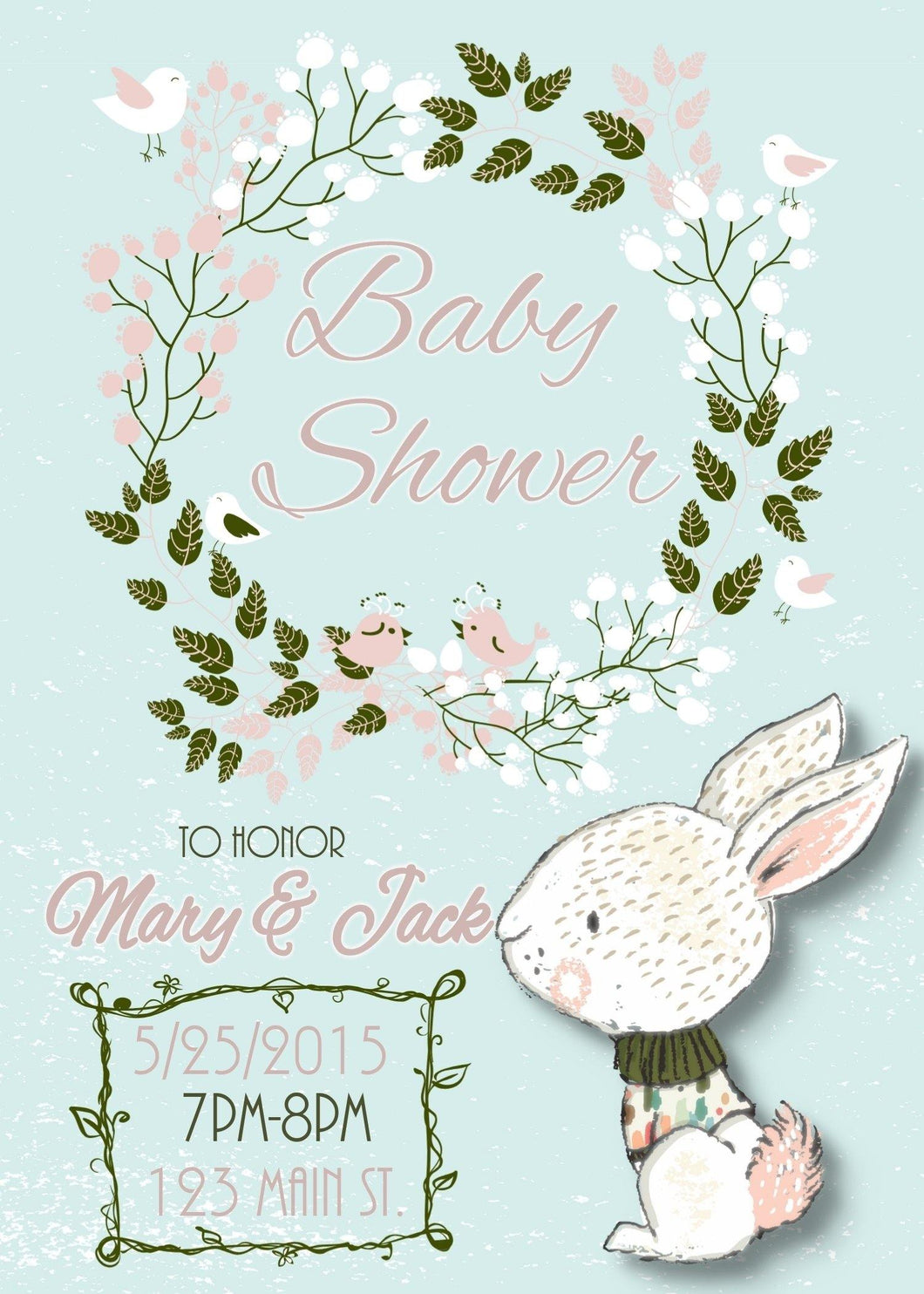 Floral Wreath Bunny Baby Shower Invite - Custom Design Party Invites and Personalized Announcements