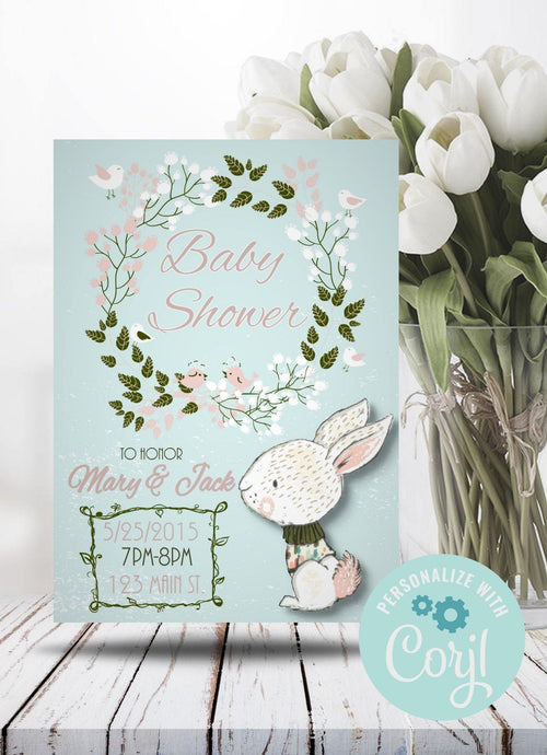 Floral Wreath Bunny Baby Shower Invite-Sunny Jar Designs