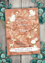 Load image into Gallery viewer, Bunny and Birds Baby Shower Invite