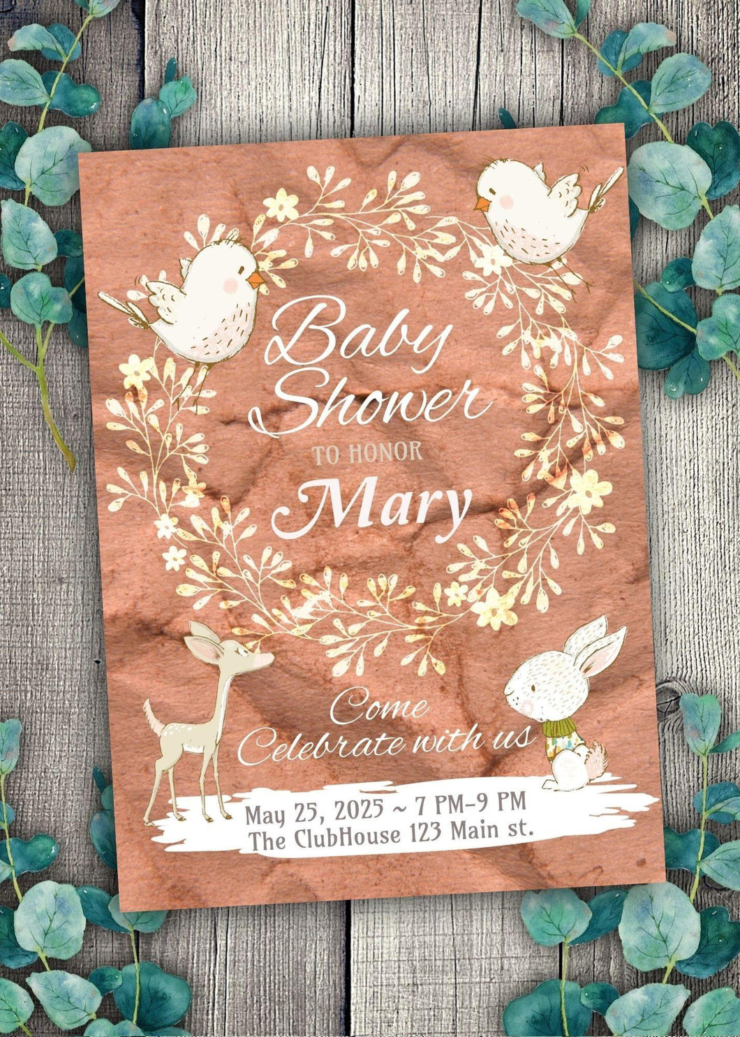 Bunny and Birds Baby Shower Invite
