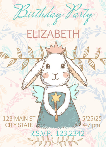 Bunny Princess  Birthday Party Invitation - Custom Design Party Invites and Personalized Announcements