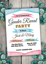 Load image into Gallery viewer, Pink and Blue Gender Reveal Party Invitation