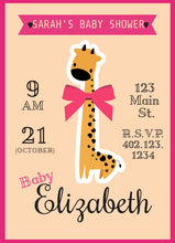 Load image into Gallery viewer, Giraffe Baby Shower Party Invitation-Sunny Jar Designs