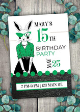 Load image into Gallery viewer, Milestone Green Bunny Party Invitation