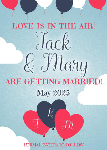 Love Balloons Engagement Announcements - Custom Design Party Invites and Personalized Announcements