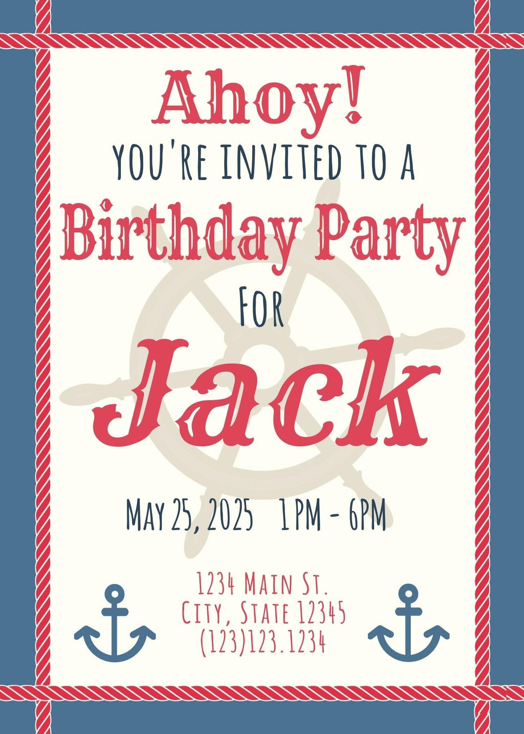 Nautical Themed Birthday Invitation (Editable Download) - sunny-jar-designs