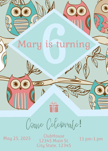 Owl Birthday Party Invitation - Custom Design Party Invites and Personalized Announcements