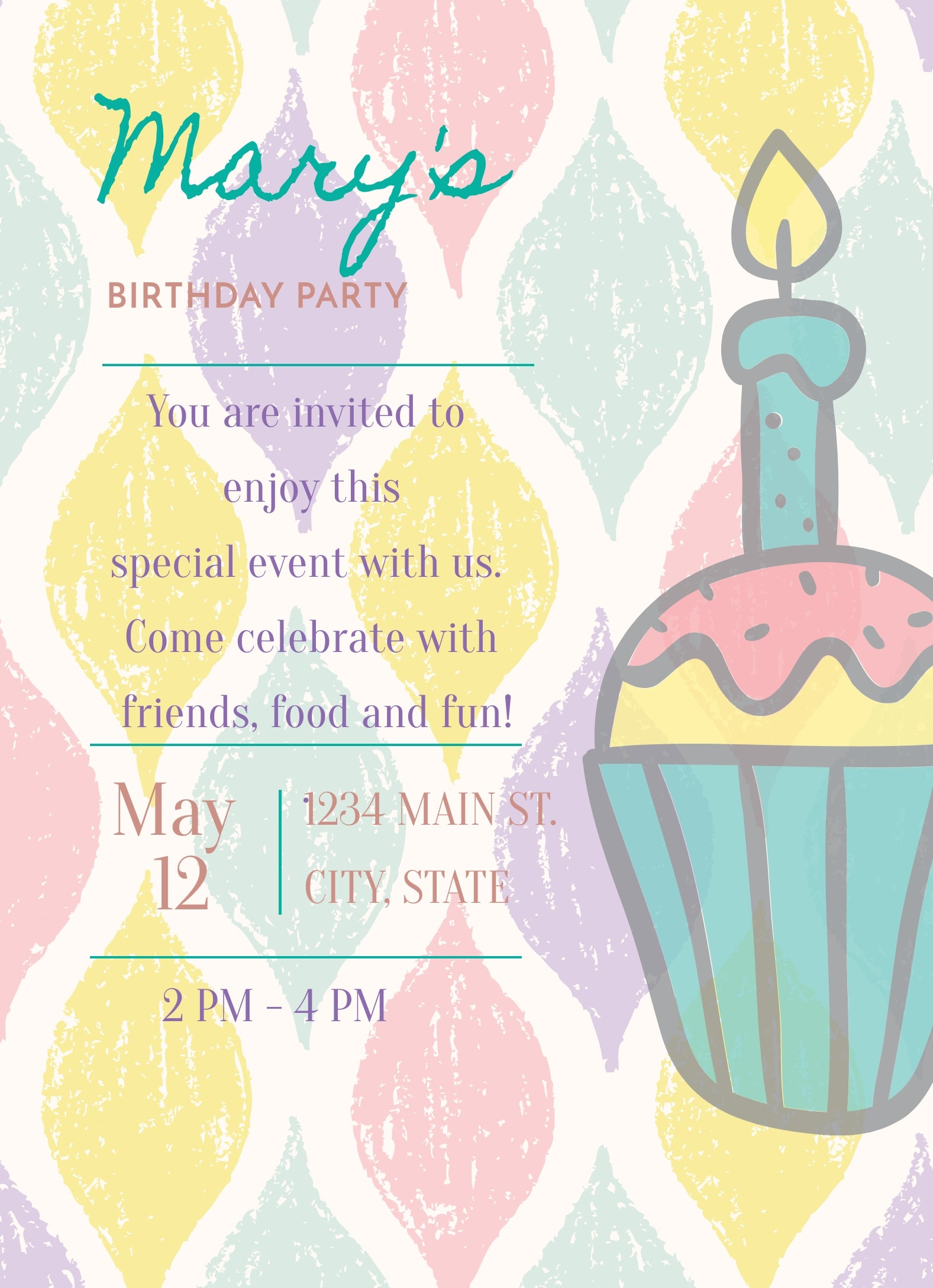 Cupcake Birthday Invitation Editable Download - Sunny Jar Designs