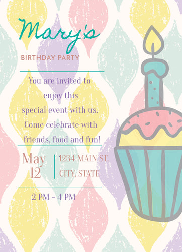 Cupcake Birthday Party Invitation - Custom Design Party Invites and Personalized Announcements