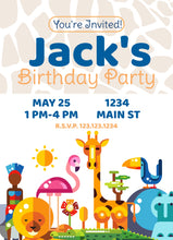 Load image into Gallery viewer, Zoo Animals Blue  Birthday Party Invitation - Custom Design Party Invites and Personalized Announcements