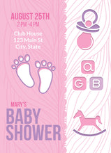 Load image into Gallery viewer, Footprint Pink Baby Shower Party Invitation-Sunny Jar Designs