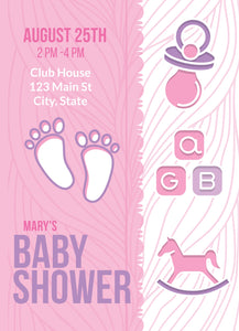 Footprint Pink Baby Shower Party Invitation-Sunny Jar Designs